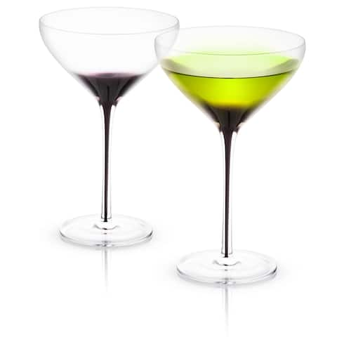 JoyJolt Black Swan Martini Glasses, 10.5 Oz Set of 2