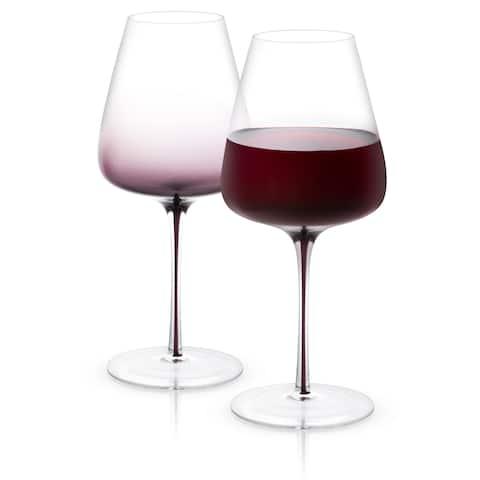 JoyJolt Black Swan Red Wine Glasses, 26.8 Oz Set of 2