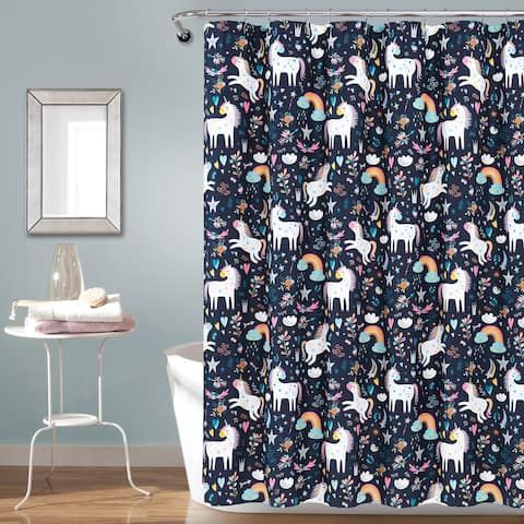 Lush Decor Unicorn Heart Fabric Shower Curtain