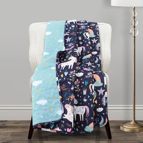 Porch & Den Marguerite Unicorn/ Heart Pattern Throw Blanket