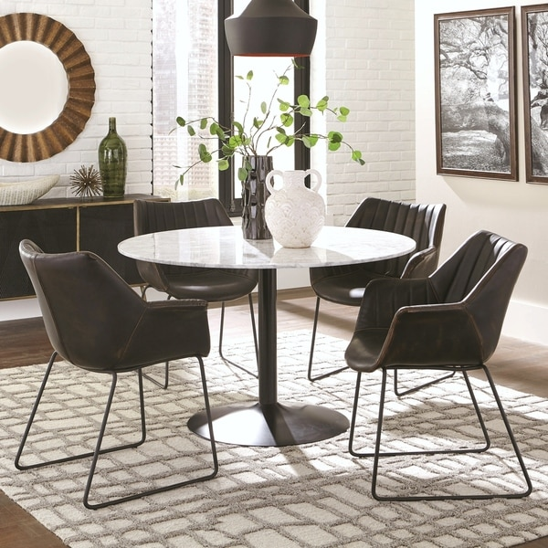 Casual 5-Piece Dining Set with Italian Carrera Marble Table Top