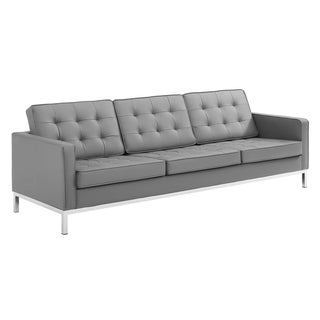 Loft Tufted Button Upholstered Faux Leather Sofa