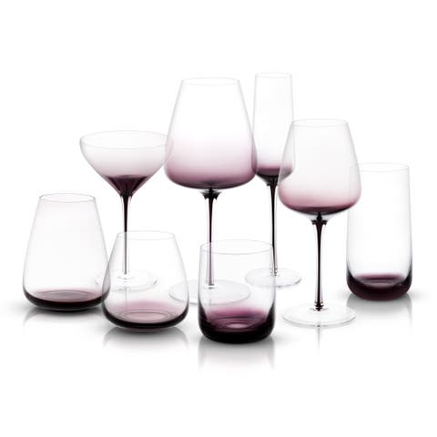 JoyJolt Black Swan Collection, Set of 16 Glasses