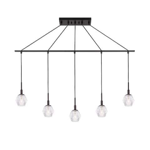 Woodbridge 18529BRZLE-C30410 Jewel 5L Linear Pendant w/LED