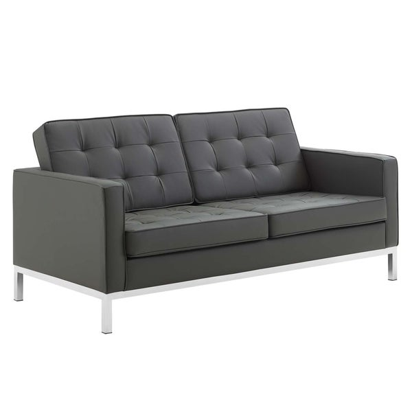 Tufted Upholstered Faux Leather Loveseat