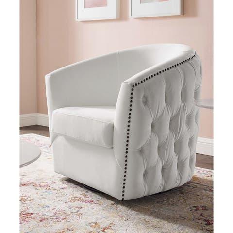 Hanson White Velvet Button Tufted Swivel Chair