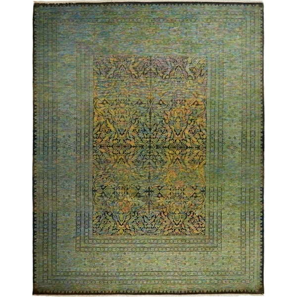 Contemporary Colorful One-of-a-Kind Hand-Knotted Area Rug - 8 x 10