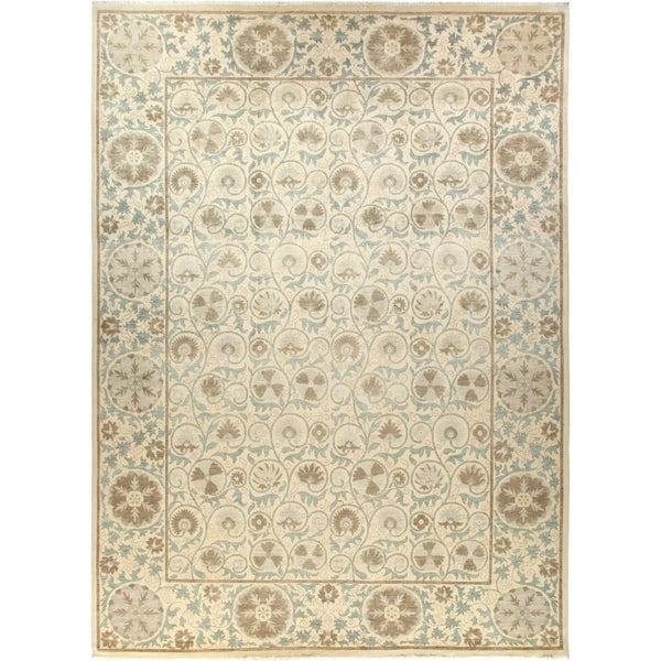 Contemporary Patterned & Floral One-of-a-Kind Hand-Knotted Area Rug - 10 x 14