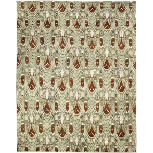 Bohemian Oriental Ikat One-of-a-Kind Hand-Knotted Area Rug - 16 x 20