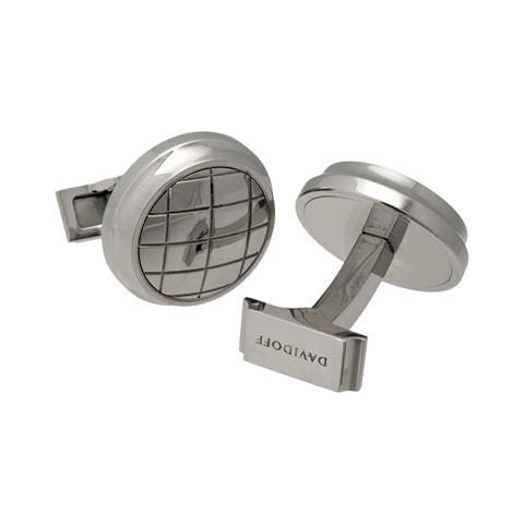 DAVIDOFF Velero Material Polished Steel With Dome Pattern Cufflinks