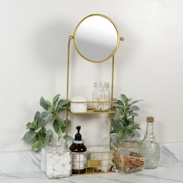Glam circular vanity mirror