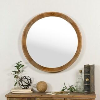 Circular wooden mirror