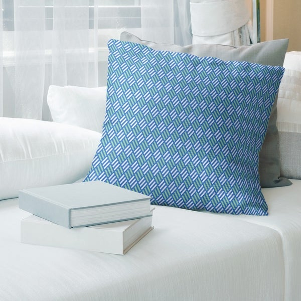 Blue Feature Two Color Stripe Diamonds Throw Pillow