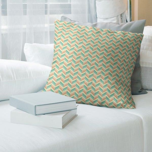 Chevrons with Green Throw Pillow