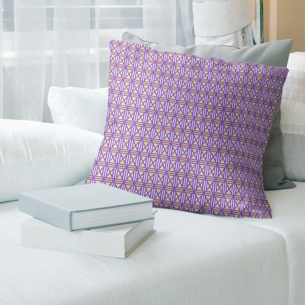 Two Color Lined Diamonds Throw Pillow