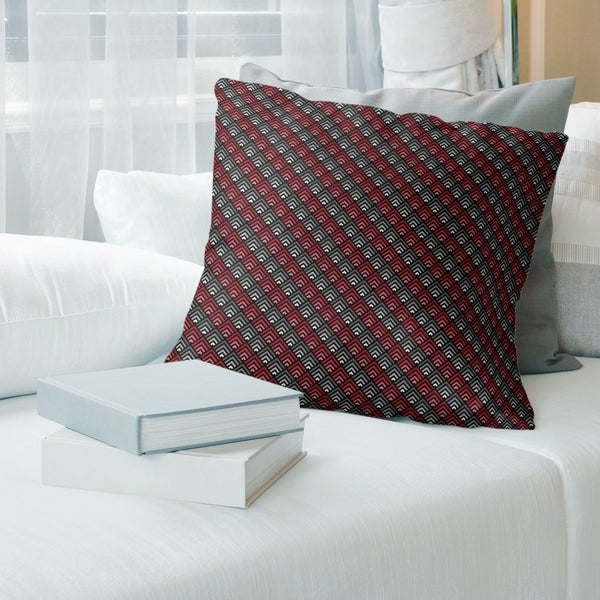 Geometric Ombre Stripe Pattern with Black Throw Pillow