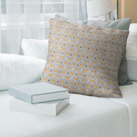 Main Color Shiba Inu Pattern Throw Pillow
