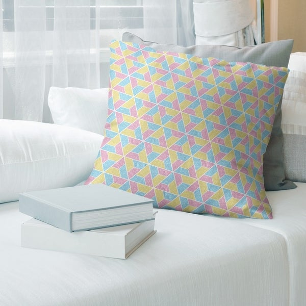 Yellow Feature Three Color Trapezoids Throw Pillow