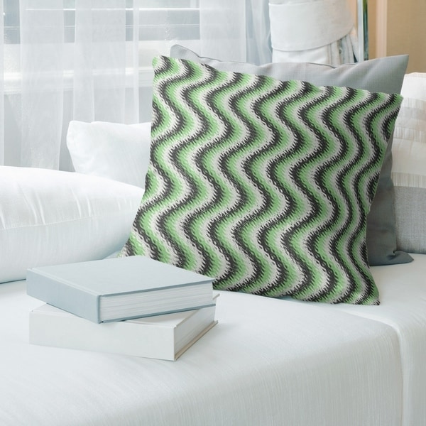 Black Wavy Stripes Throw Pillow