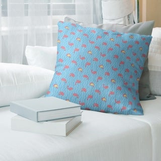 Multicolor Whales Pattern with Blue Throw Pillow