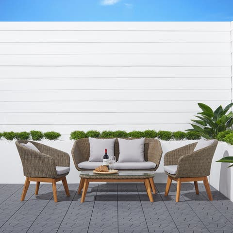 Lauderdale 4-piece Rustic All-Weather Patio Wood and Wicker Conversation Set in Light Grey
