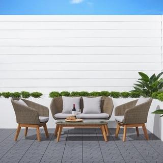 Lauderdale 4-piece Patio Wood and Wicker Conversation Set