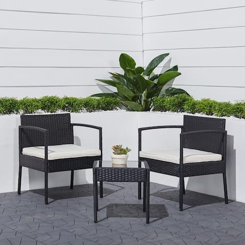 Bahia 3-Piece Classic Outdoor Wicker Coffee Lounger Set