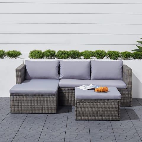 Bloomington 3-piece Vintage Outdoor Wicker Corner Sofa