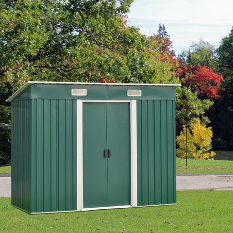 Kinbor 6' x 4' Outdoor Storage Shed Steel Tool Shed Lawn Equipment Storage w/ Sliding Door