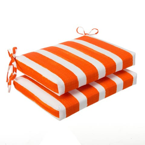 "Glasgow Orange Stripe Indoor/Outdoor Oversized Seat Square Cushion (Set of 2) by Havenside Home - 20""x20"""