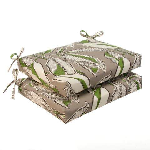 Havenside Home Glasgow Tropical Leaves Oversized Seat Square Cushion (Set of 2)