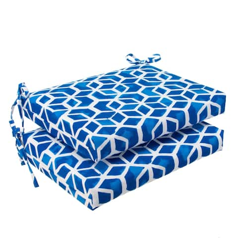 Glasgow Blue Geometric Oversized Seat Square Cushion (Set of 2) by Havenside Home