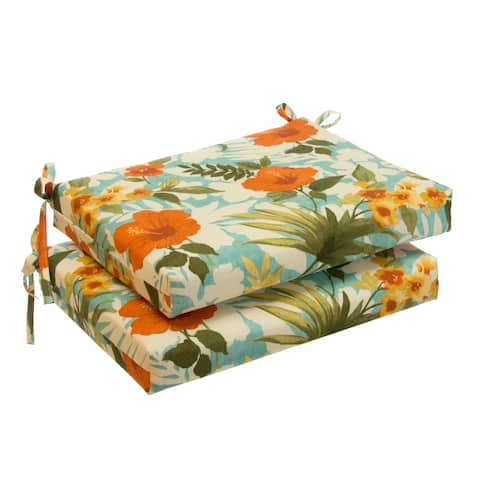 Glasgow Tropical Flowers Oversized Seat Square Cushion (Set of 2) by Havenside Home - 20x20
