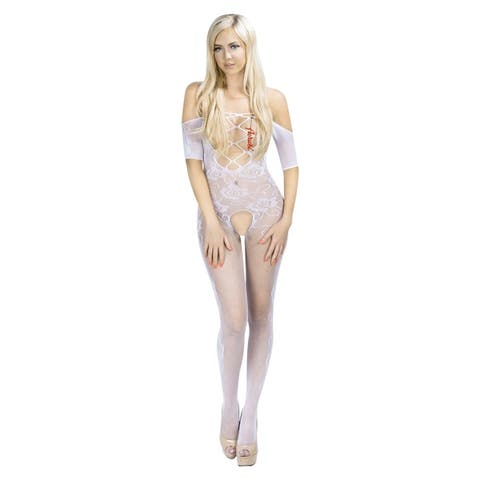 Romantic Seductive Body Stocking Lingerie Set with Fishnet Mesh