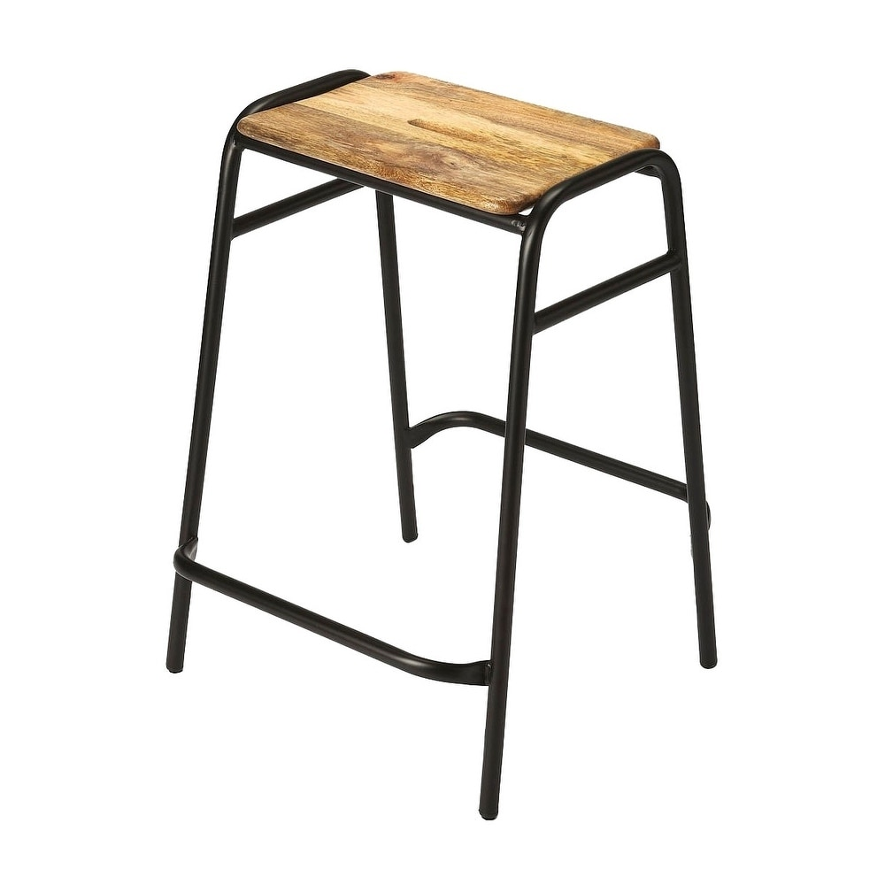 Super Butler Dawson Transitional Iron And Wood Rectangular Counter Stool Black N A Ncnpc Chair Design For Home Ncnpcorg
