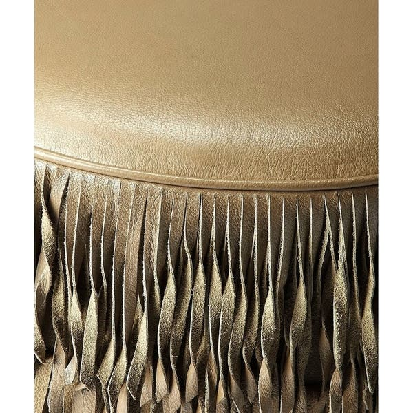 Incredible Shop Butler Tassels Modern Round Decorative Leather Ottoman Beatyapartments Chair Design Images Beatyapartmentscom