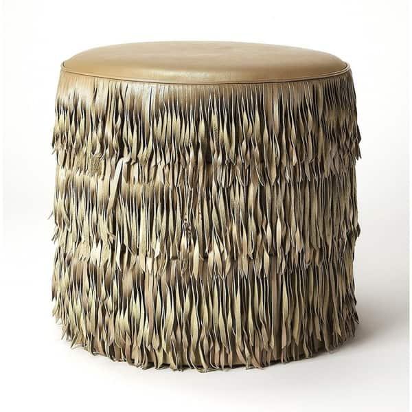 Strange Shop Butler Tassels Modern Round Decorative Leather Ottoman Ibusinesslaw Wood Chair Design Ideas Ibusinesslaworg
