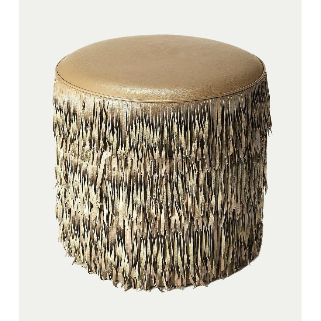 Peachy Butler Tassels Modern Round Decorative Leather Ottoman Gray Beatyapartments Chair Design Images Beatyapartmentscom