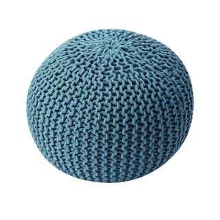 Butler Pincushion Modern Round Woven Pouffe - Blue