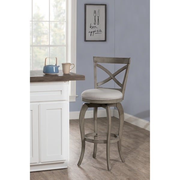 The Gray Barn Chatterly Grey Wood Bar Height Swivel Stool (As Is Item)