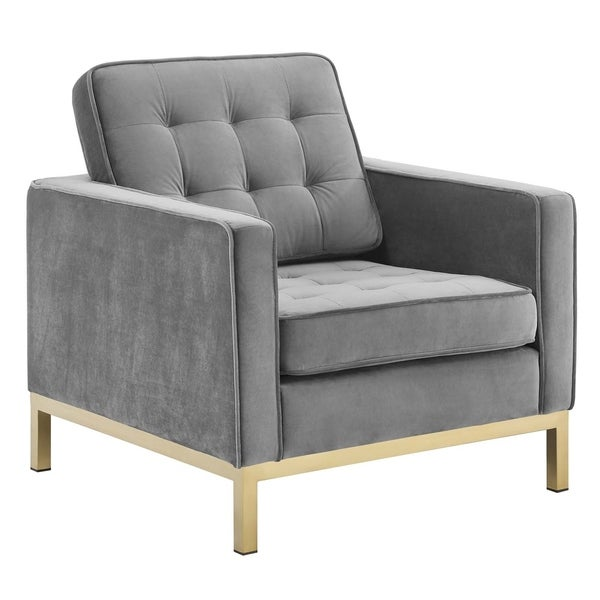 Loft Gold Stainless Steel Performance Velvet Armchair. Opens flyout.
