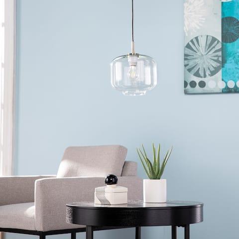 Carson Carrington Home Avangeline Midcentury Brass Glass Pendant Light