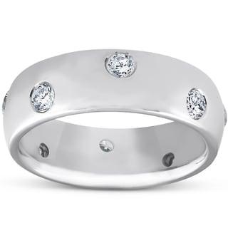 14k White Gold 1 2 Ct TDW Diamond Eternity Ring Womens Bezel Set Anniversary Band