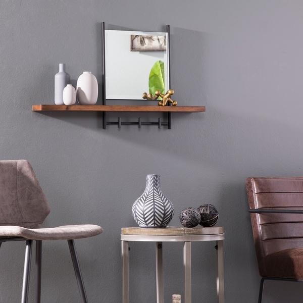 Carbon Loft Tanya Industrial Black Hanging Mirror with Shelf