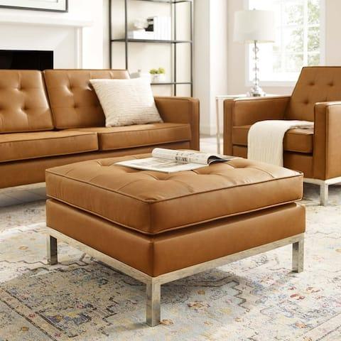 Carson Carrington Lagdom Tufted Upholstered Faux Leather Ottoman