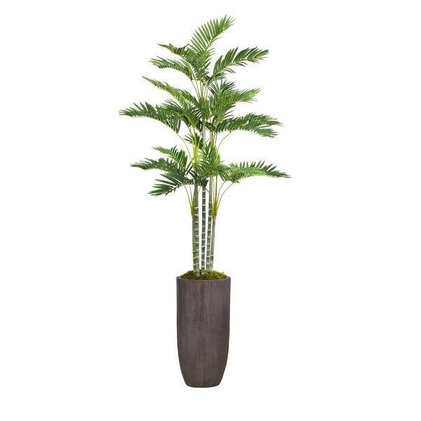 "Laura Ashley 82.25"" Tall Palm Tree Artificial Faux Décor in Resin Planter"
