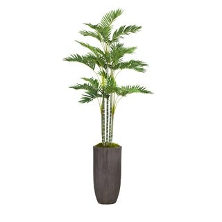 """Laura Ashley 82.25"""" Tall Palm Tree Artificial Faux Décor in Resin Planter"""