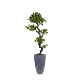 "Laura Ashley 80.5"" Tall Yacca Tree Lifelike Faux in Resin Planter"