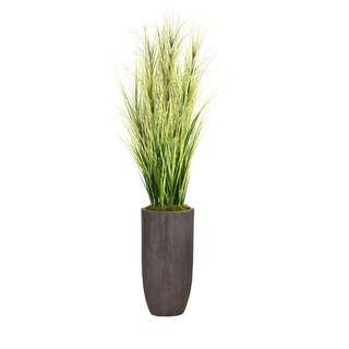 """74.25"""" Tall Onion Grass Artificial Faux Decorative with Twigs in Resin Planter"""