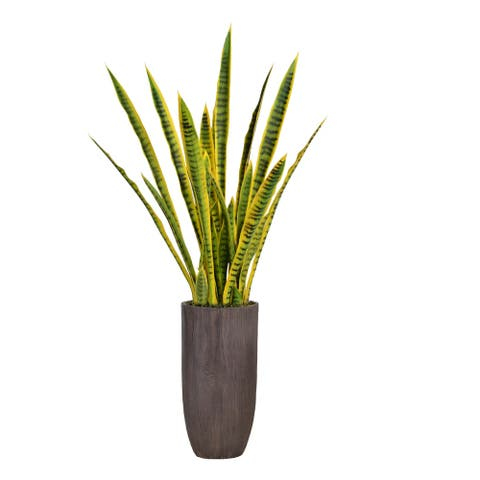 """58.25"""" Tall Snake Plant (Sansevieria) Artificial Lifelike Faux in Resin Planter - 49.25"""""""